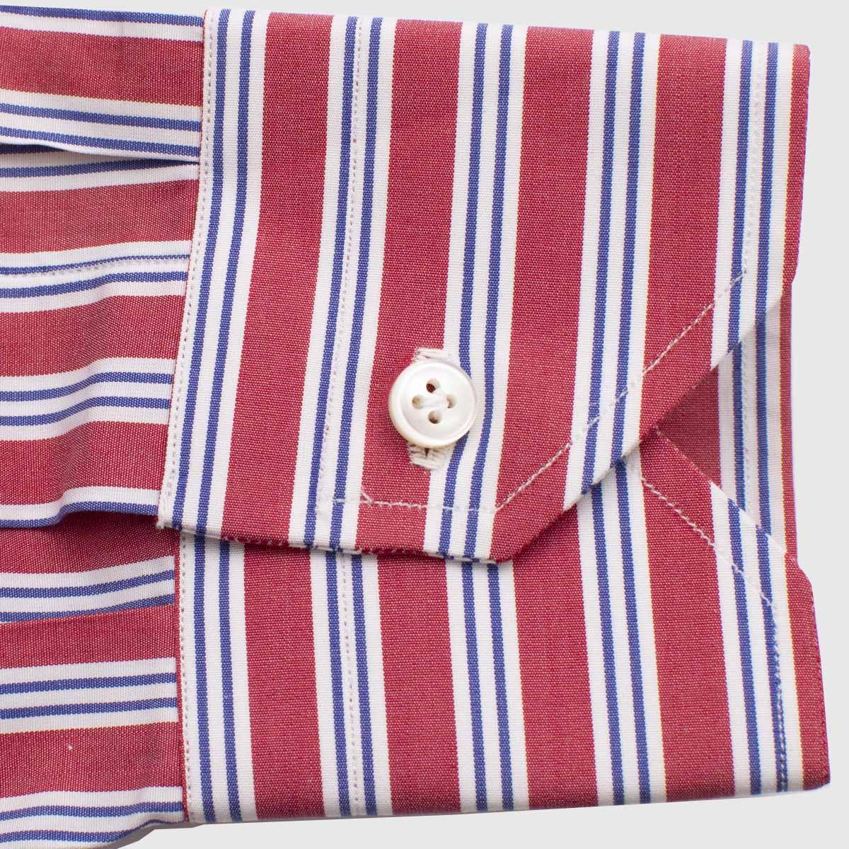 Camicia 100 Cotone Righe Multi Dimensione 12 Passaggi A Mano