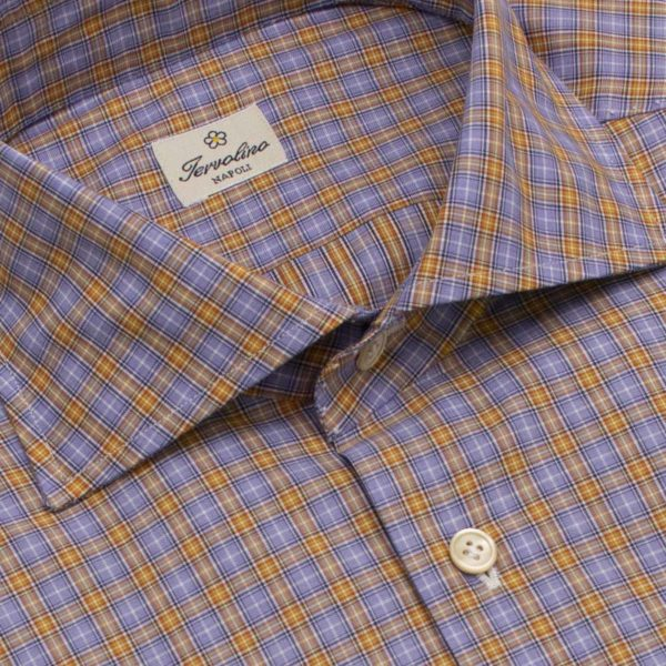 100% Cotton Plaid Shirt with Twelve handmade steps Twill