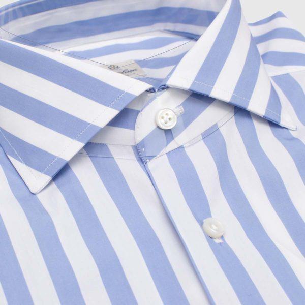 """Camicia 100% cotone """"Riga celeste"""" 12 passaggi a mano"""