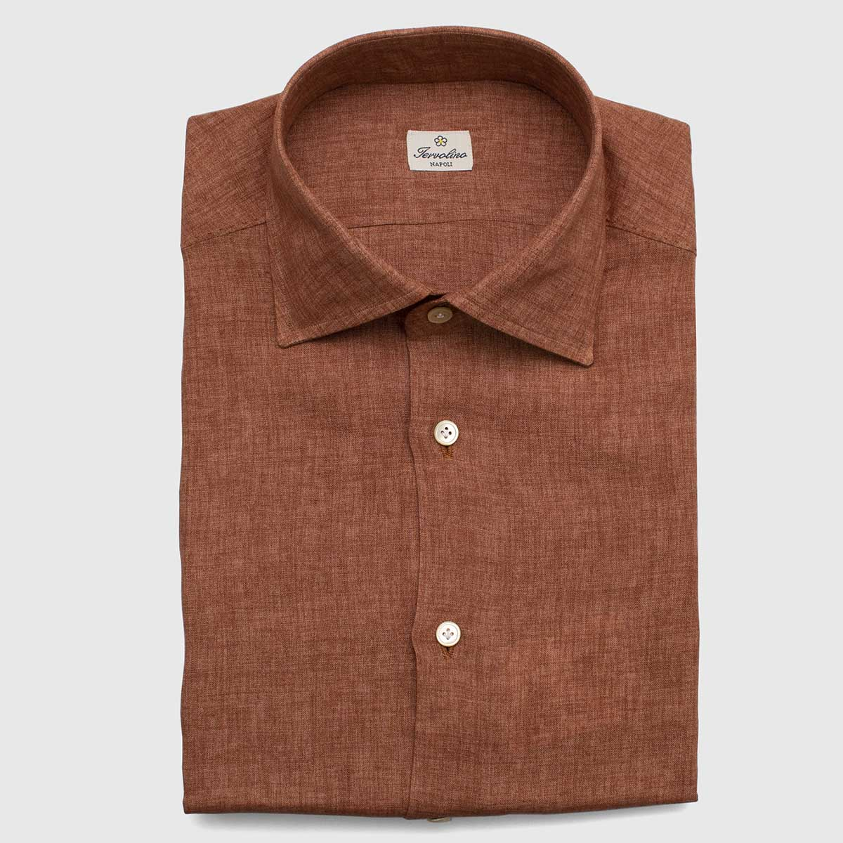100% Tobacco Linen shirt made with 12 steps by hand