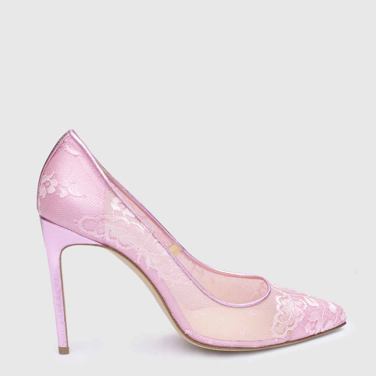 Pink leather and lace Décolleté shoe