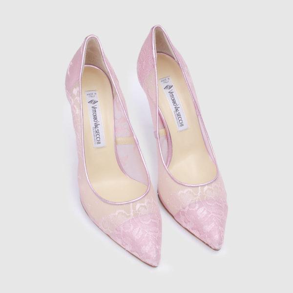 Pink leather and lace Décolleté shoe