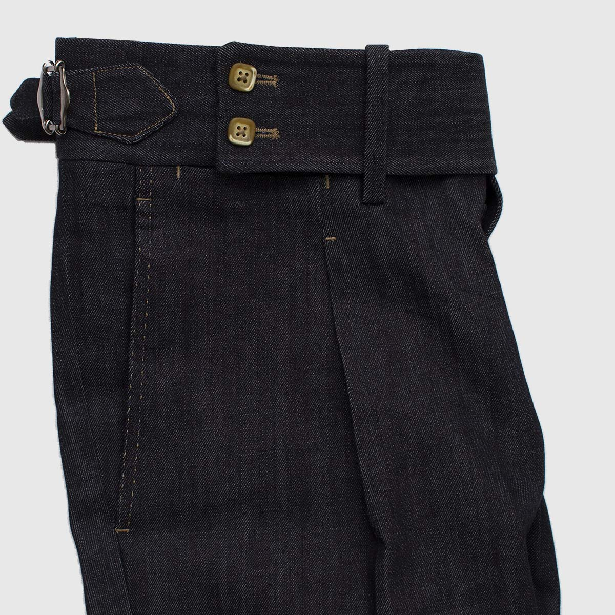 One pleat high-waisted denim trousers