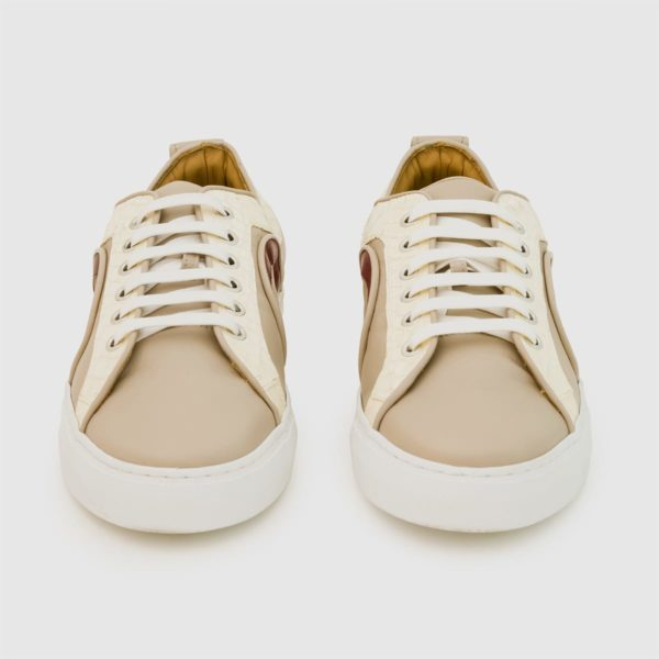 Sneakers Bemer beige con inserti in pitone
