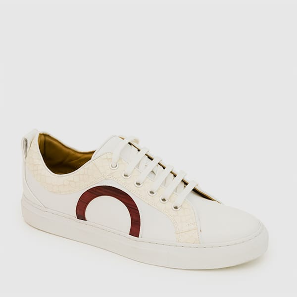 White hand-painted calfskin Sneakers