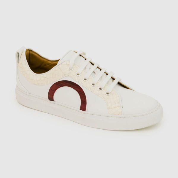 Sneakers Bemer bianca con inserti in pitone