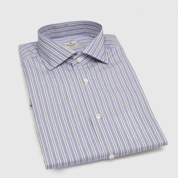 Camicia in Popeline di cotone a righe verdi e bianche