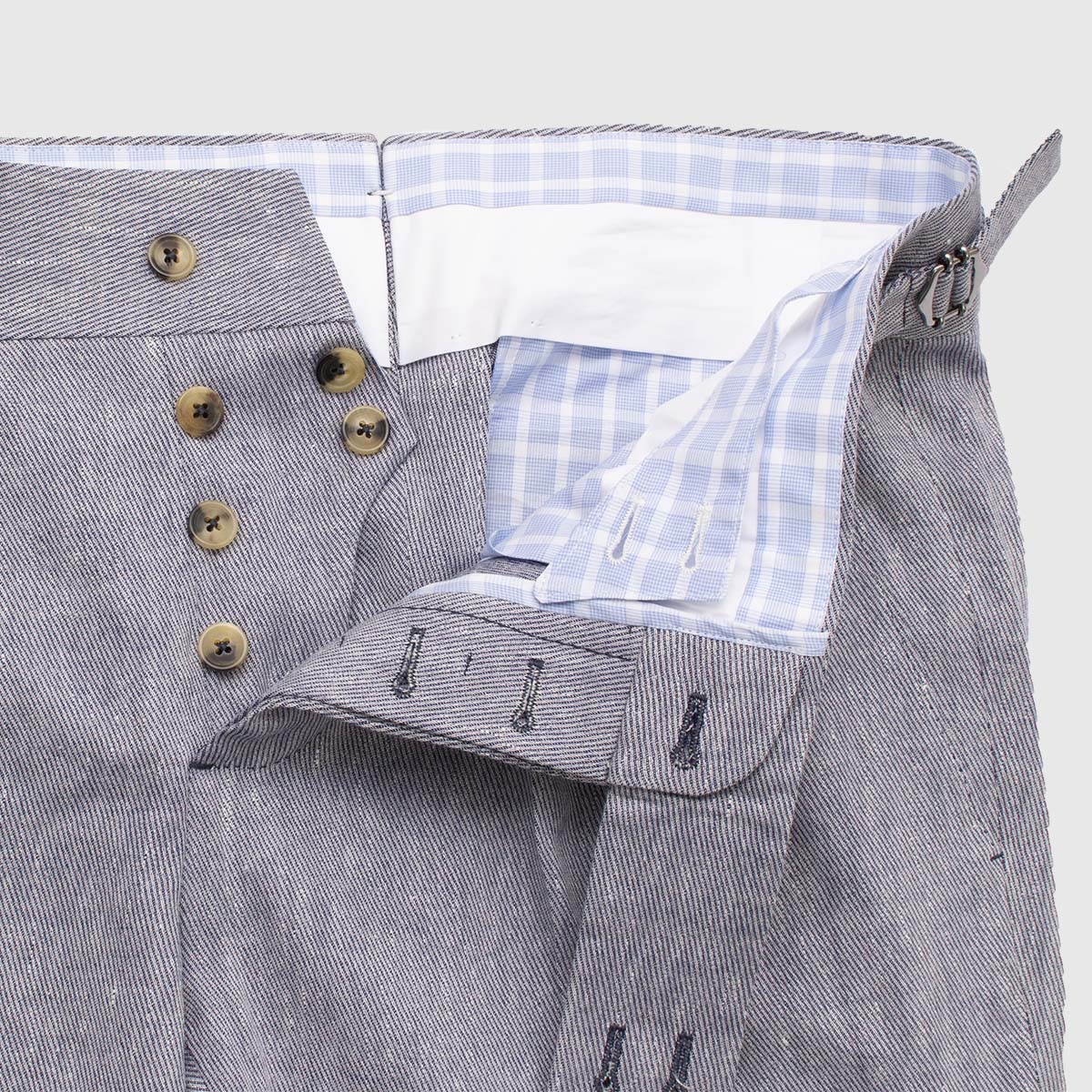 Double piences trousers in Wool Cotton and Linen