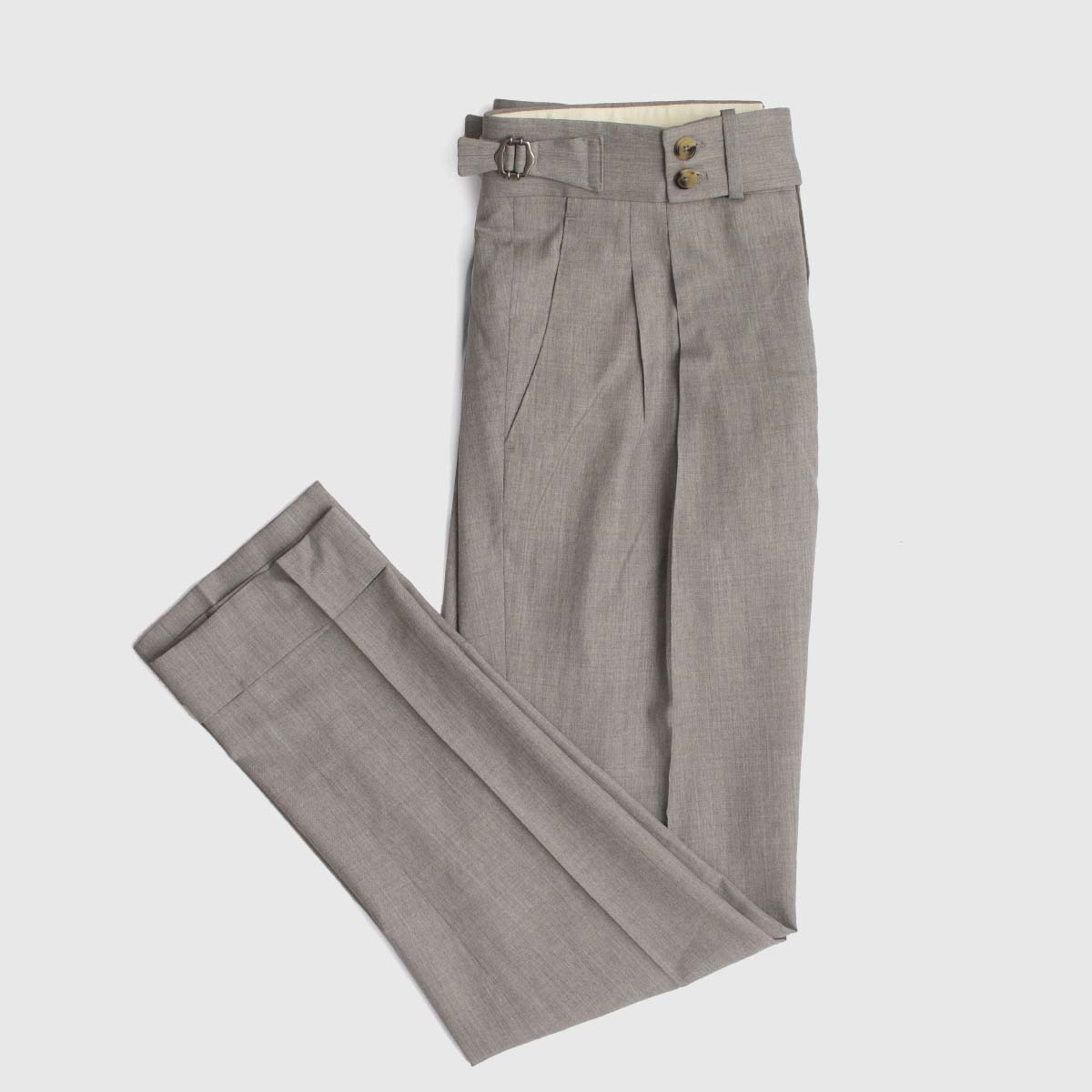 Two pleats trousers in grey wool