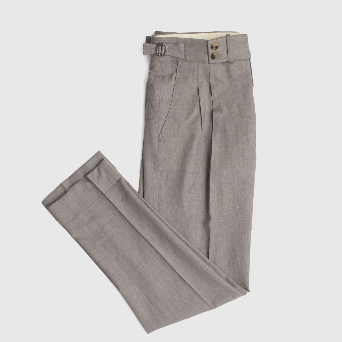 Two pleats trousers in grey wool