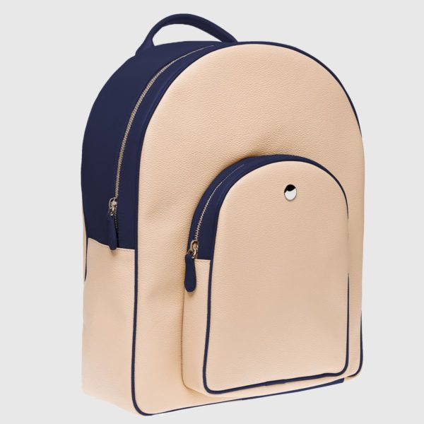 Blue Crude Canvas and Calfskin Backpack