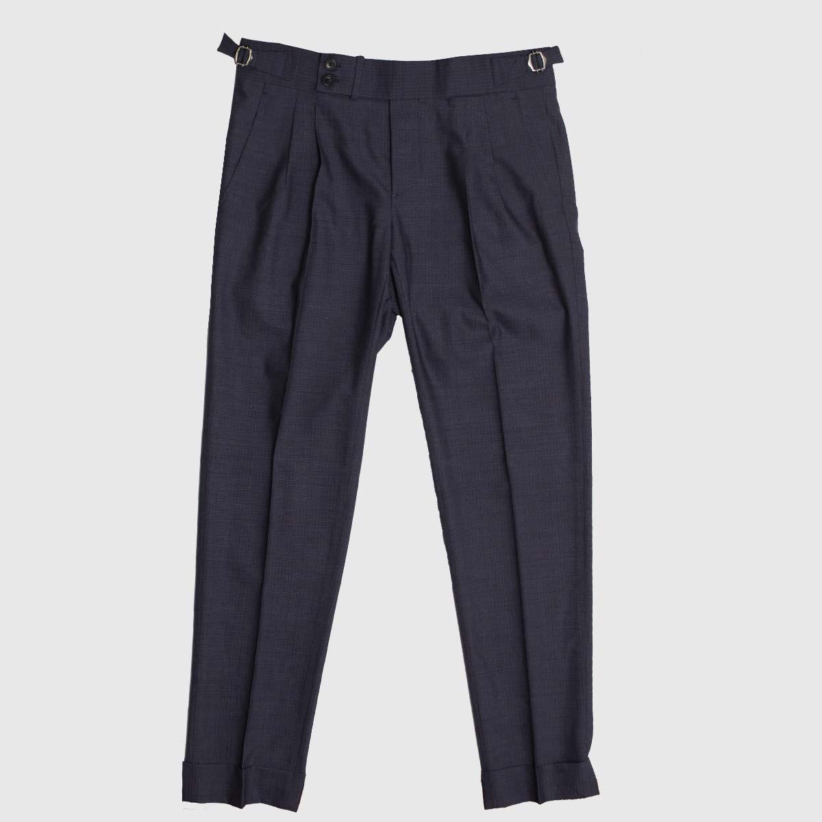 Double pleats trousers in fine Drago 100% wool