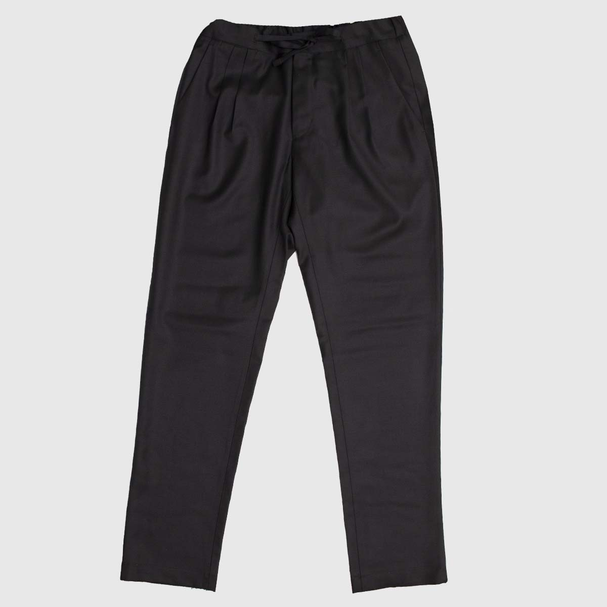 Black Wool Double pleats drawstring trousers