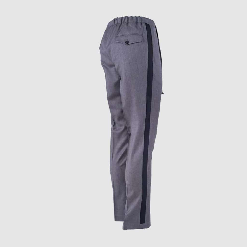 Gray Double pleats trousers alcantara finished