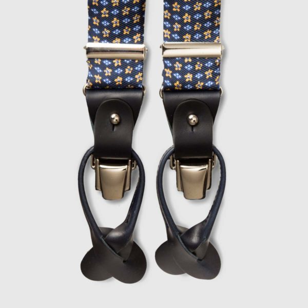 Printed Silk Blue braces with black leather ends