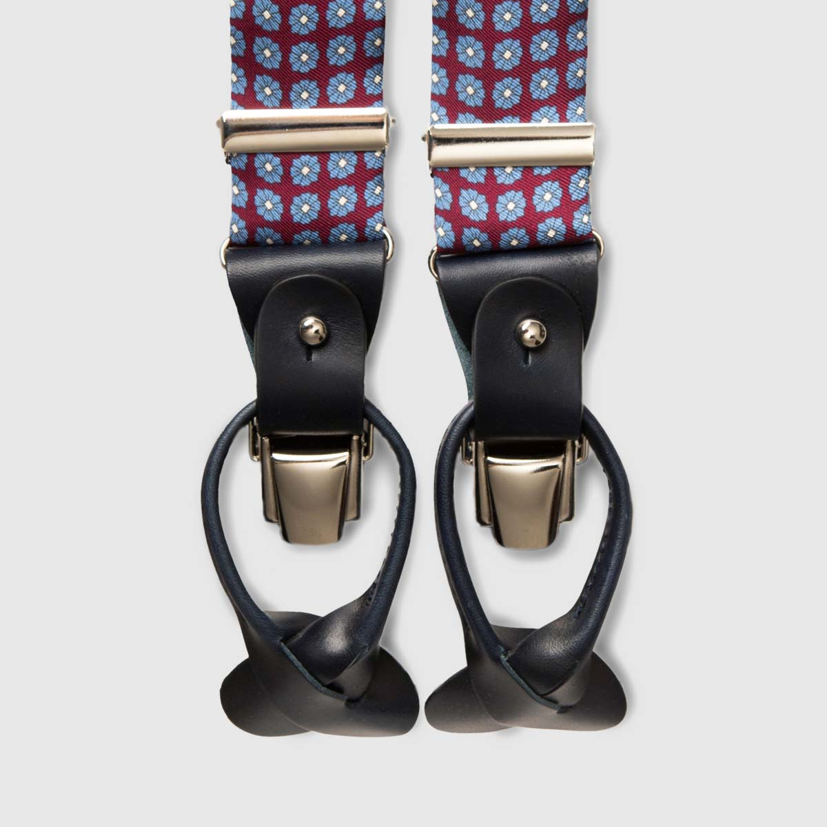 Printed Silk Bordeaux braces with black leather ends