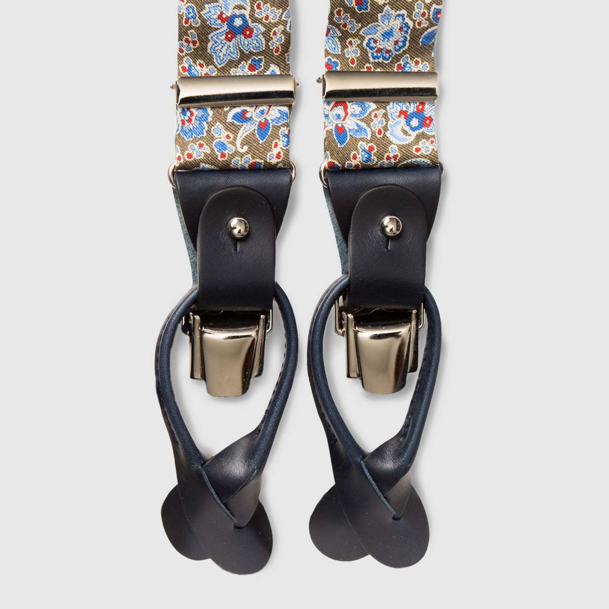 Printed Silk Green braces with black leather ends