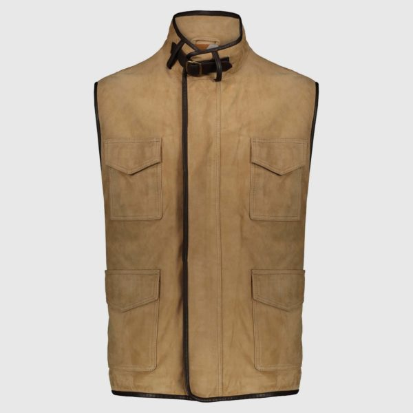 Robert Gilet in Beige Suede