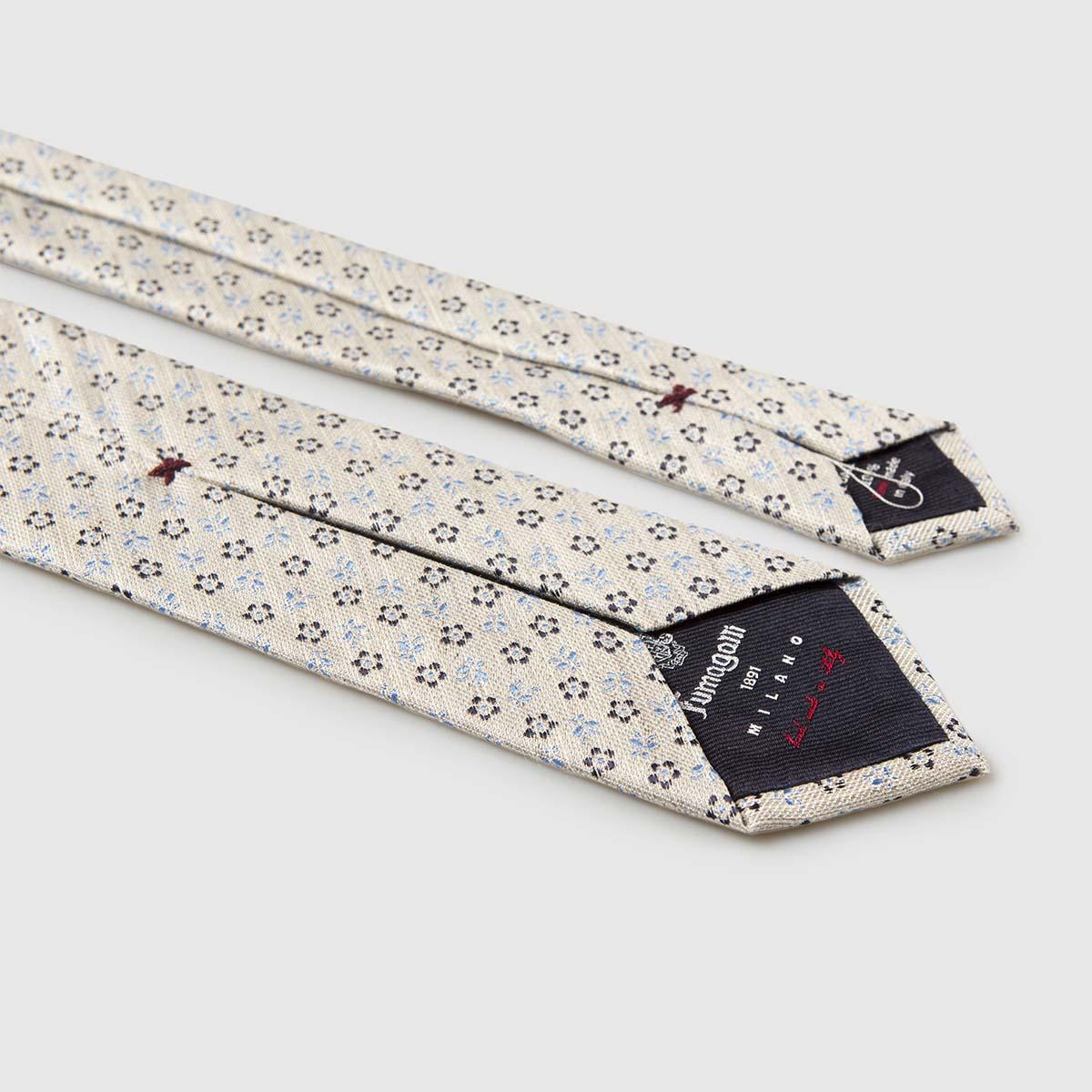 "5-Fold ""off-white"" Silk Jacquard Tie"