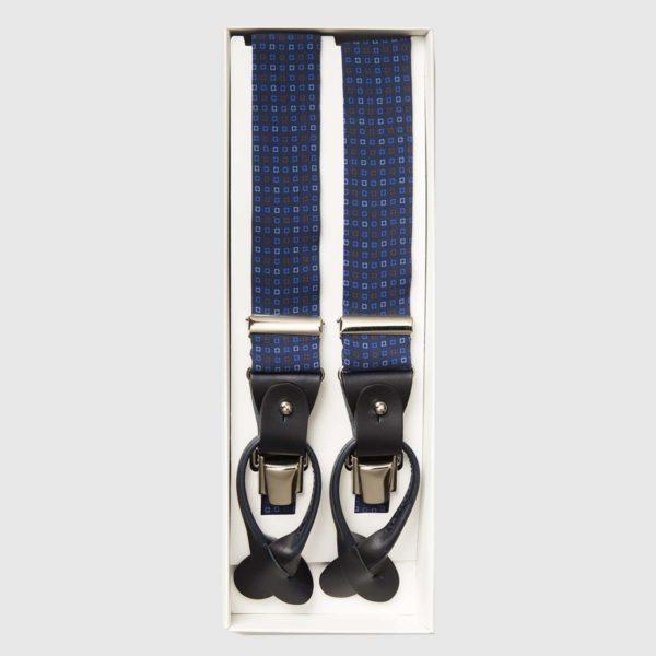 Bretelle in pelle nera e seta stampata con quadri