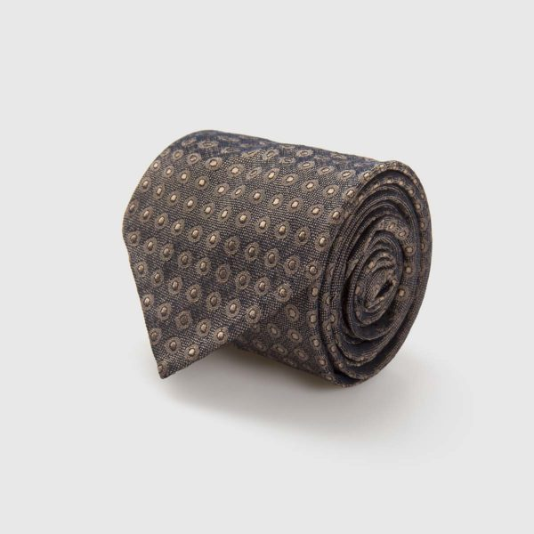 G Inglese Silk Jacquard Tie with brown background