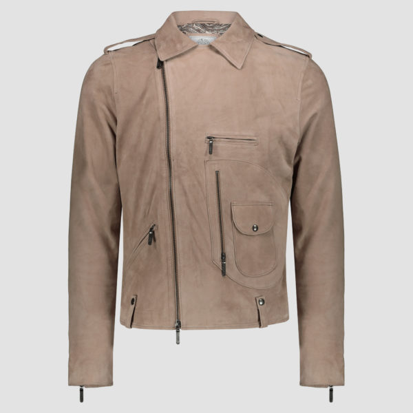 Genuine goatskin leather biker jacket