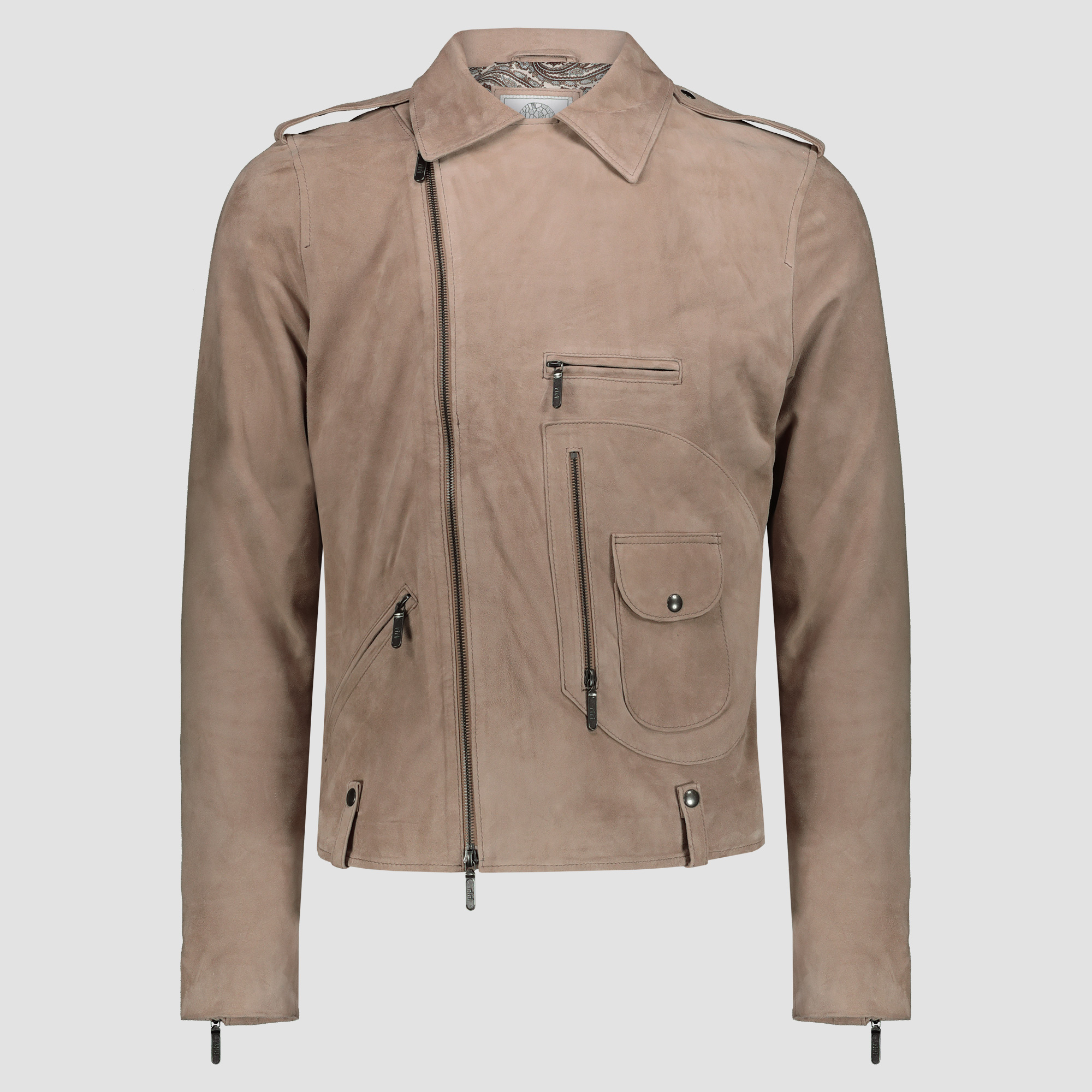 Genuine goatskin leather biker jacket