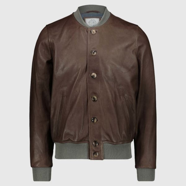 Giacca bomber in pelle di agnello brown