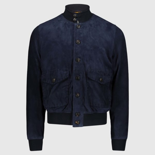"""Giacca bomber in suede blu """"A1 Cary"""""""
