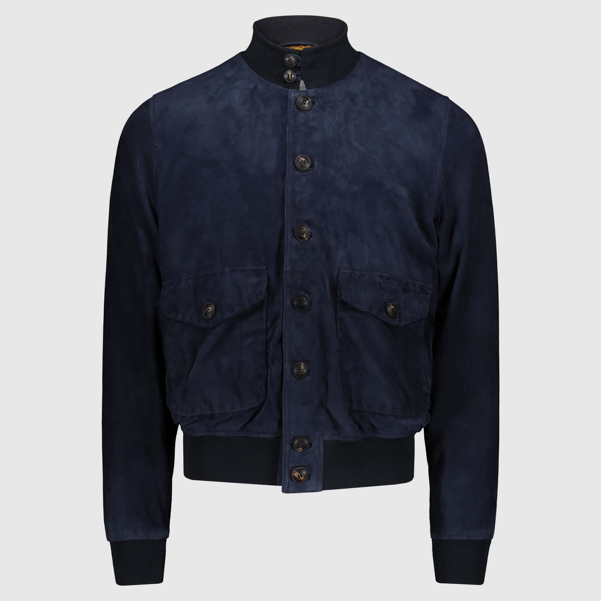 Blue suede Bomber Jacket A1 Cary