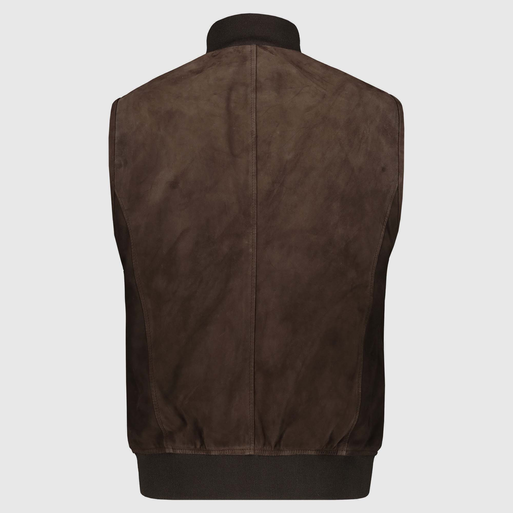Brown Suede Sleeveless Vest
