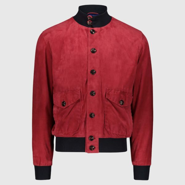 Red suede Bomber Jacket A1 Cary