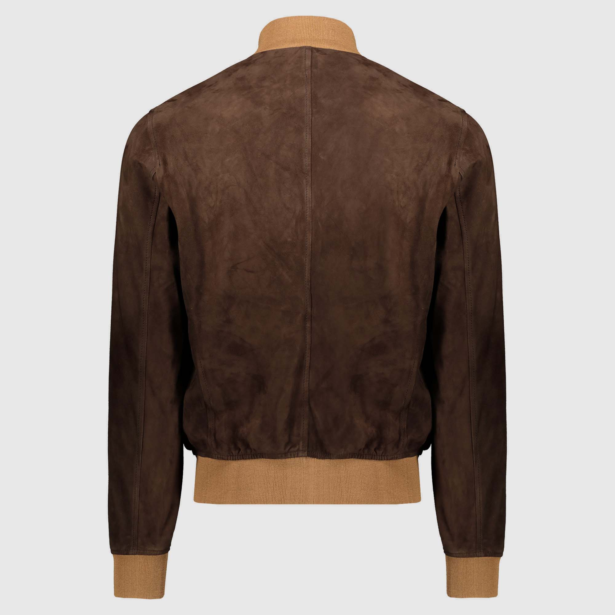 "Giacca bomber in suede Brown con tessuto tabacco ""A1 Cary"""