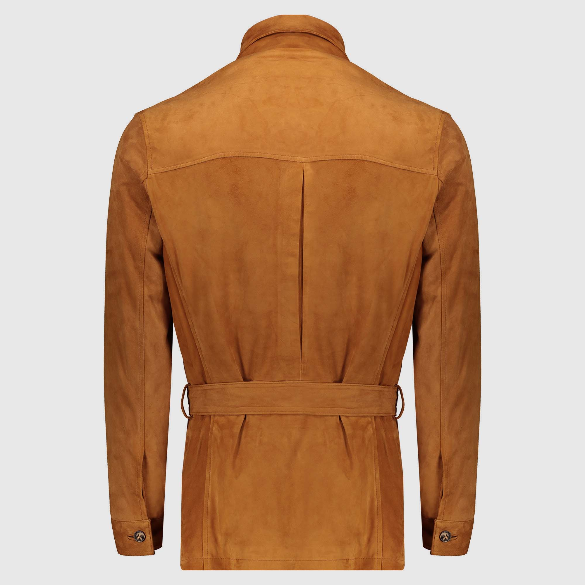 Natural-colored leather suede safari Jacket