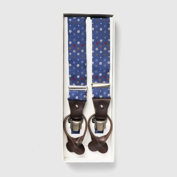 Printed Silk Blue braces with brown leather ends and iconic flowers