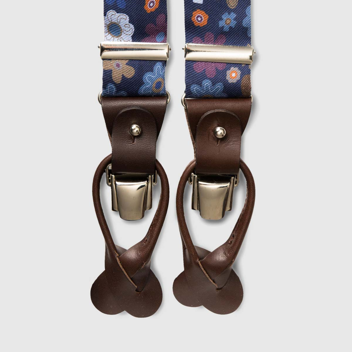 Printed Silk Blue braces with brown leather ends