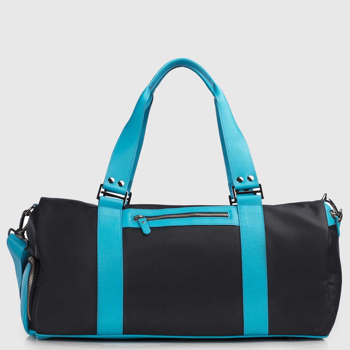 Celestial & Black Leather Duffle-bag