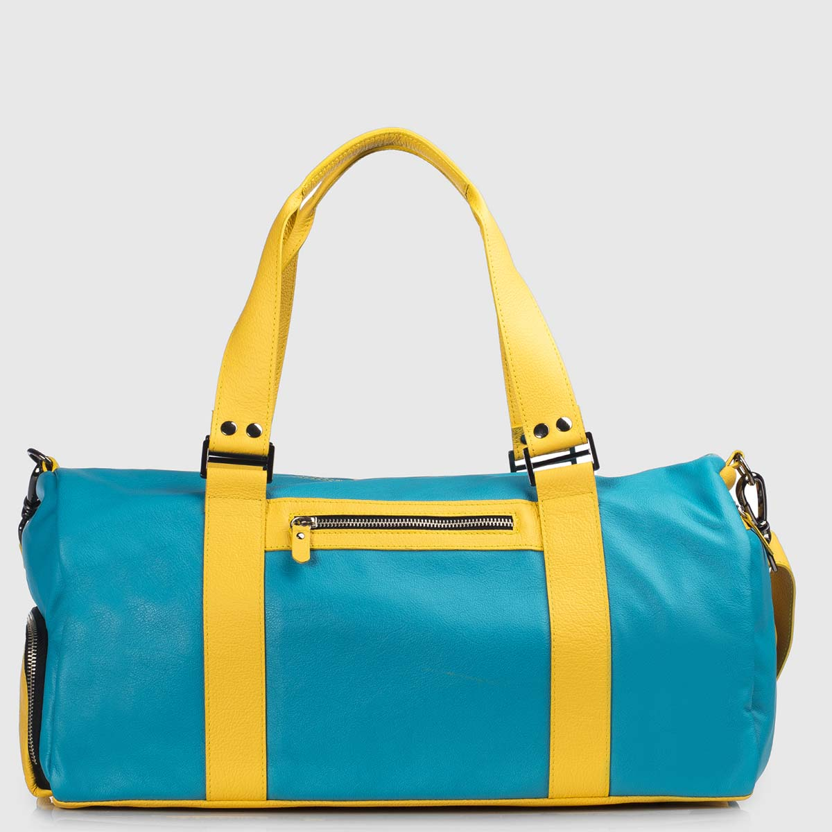 Yellow & Celestial Leather Duffle-bag