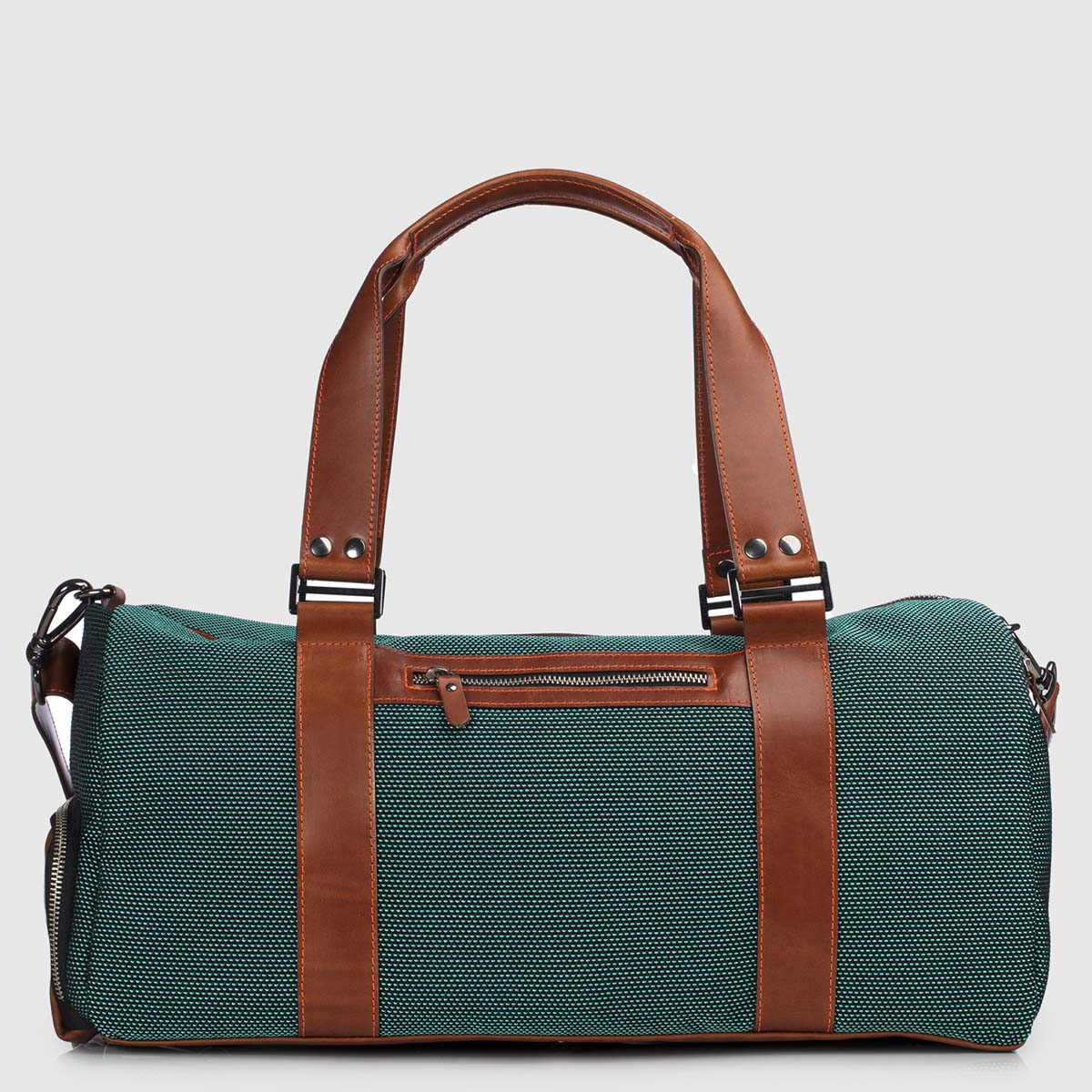 Green Stardust & Cognac Leather Duffle-bag