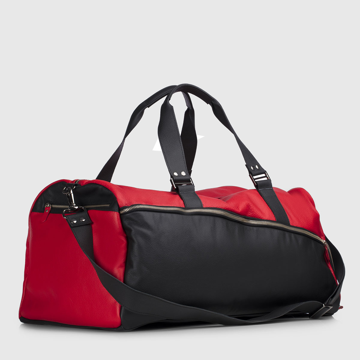 Red & Black Leather Duffle-bag