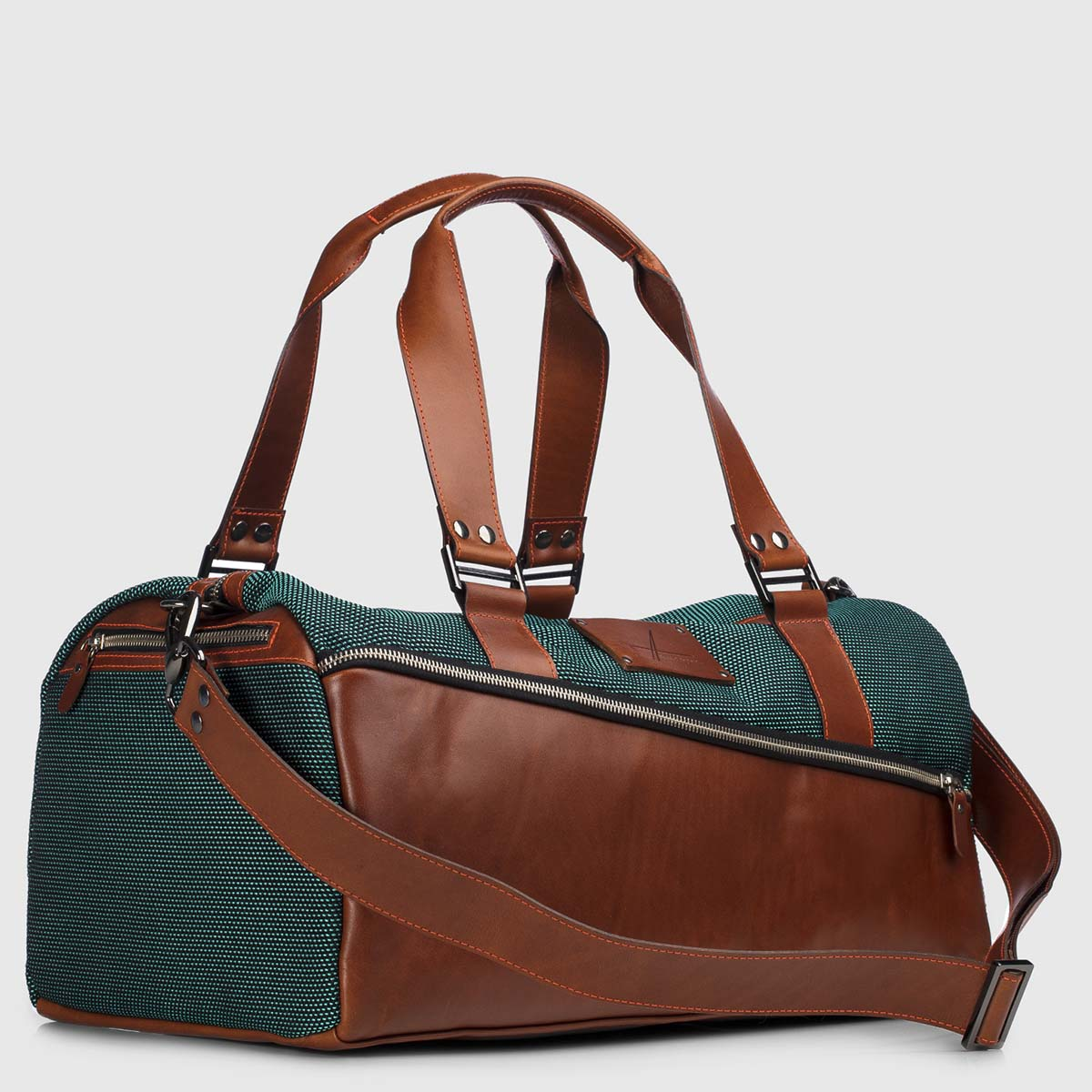 Green Stardust & Cognac Leather Duffle-bag