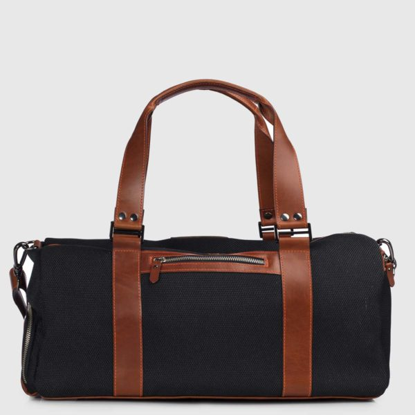 Black Echo & Cognac Leather Duffle-bag