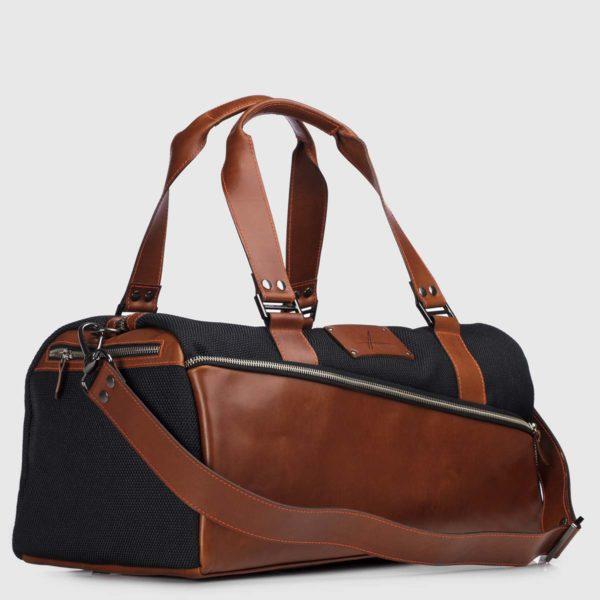 Black Echo & Cognac Leather Duffle-bag