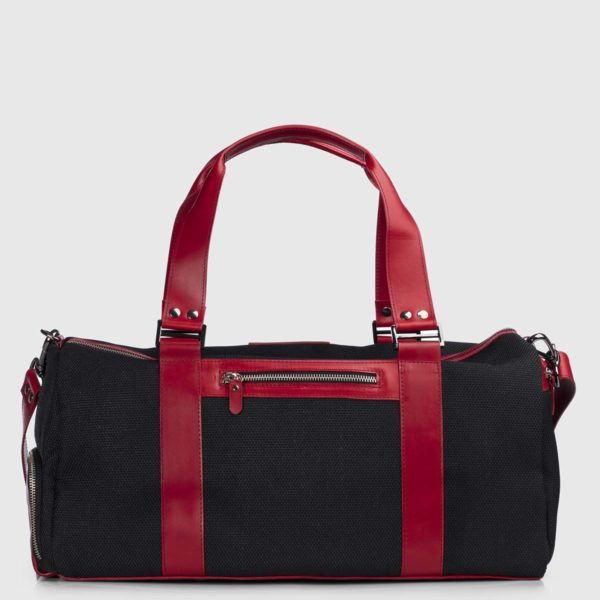 Black echo & Bordeaux Vanguard Leather Duffle-bag