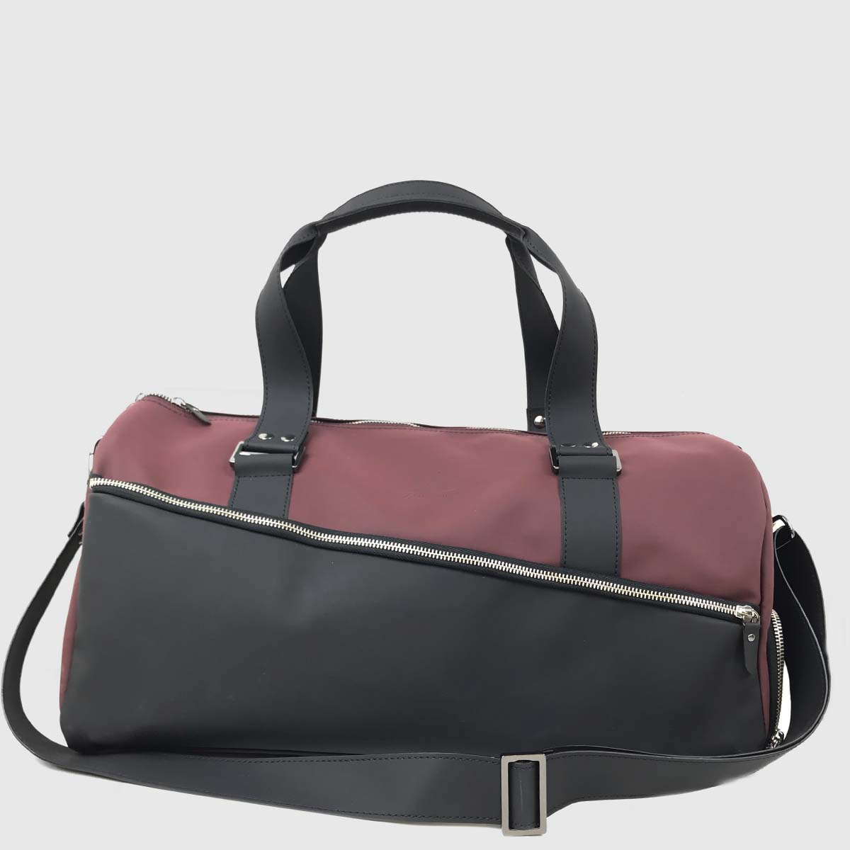 Wine & Black Technical Leather Duffle-bag