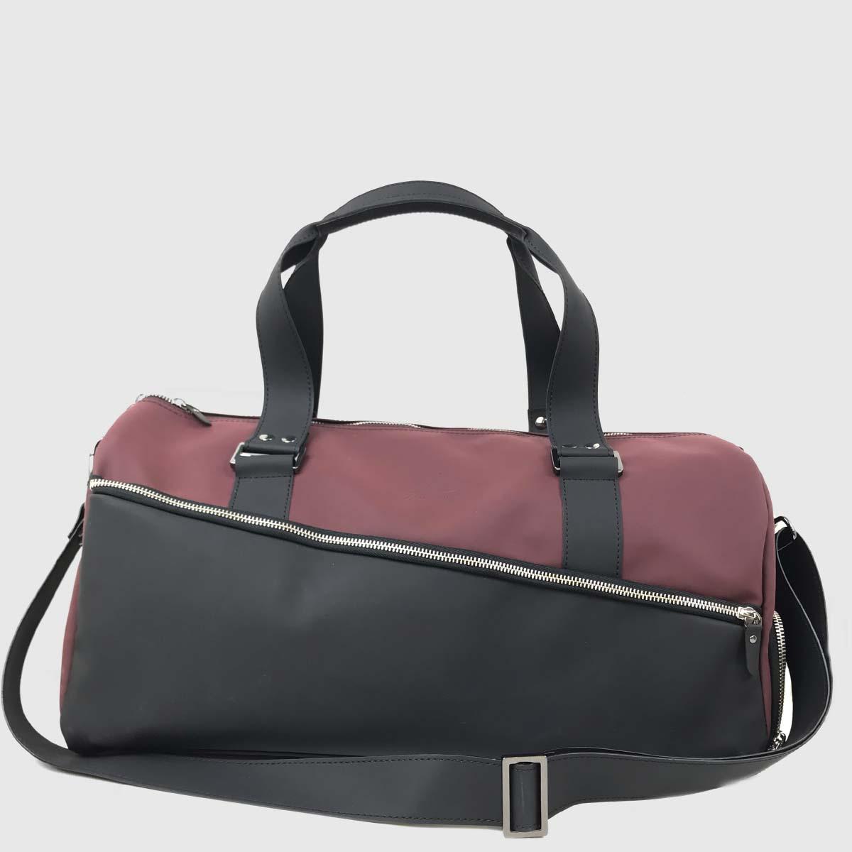 Wine & Black Technical Leather Duffle-bag