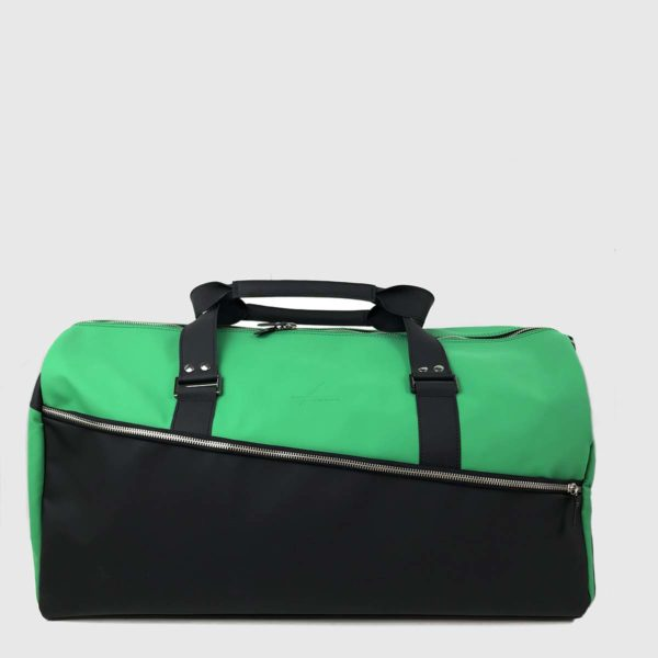 Green & Black Technical Leather Duffle-bag