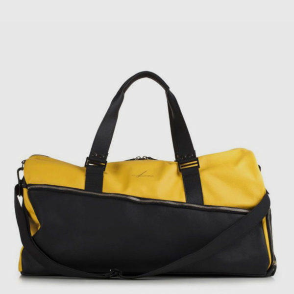 Yellow & Black Leather Duffle-bag