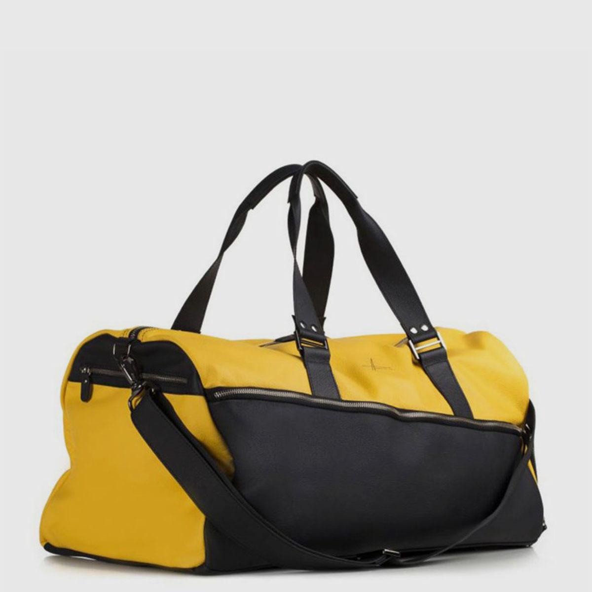 Yellow & Black Leather Duffle-bag