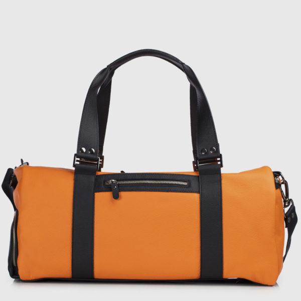 Orange & Black Leather Duffle-bag
